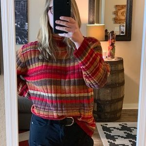 VINTAGE Ribbed Multi-Color Striped Sweater